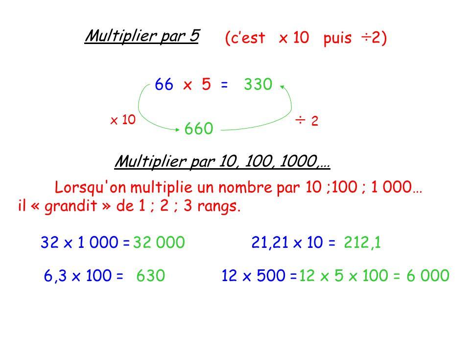 Multiplier par 5 (cest x 10 puis ÷ 2) 66 x 5 = x 10 660 ÷ 2 ÷ 2 330 Multiplier par 10, 100, 1000,… Lorsqu'on multiplie un nombre par 10 ;100 ; 1 000…