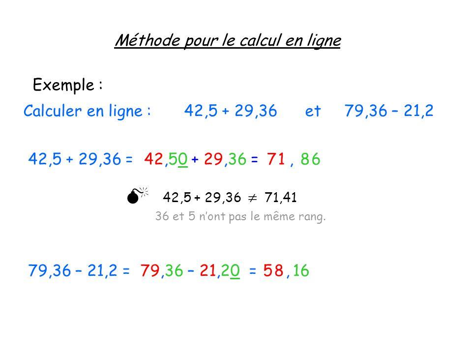 Méthode pour le calcul en ligne Exemple : Calculer en ligne : 42,5 + 29,36 et 79,36 – 21,2 42,5 + 29,36 =42,50 + 29,36 =68,17 42,5 + 29,36 71,41 36 et