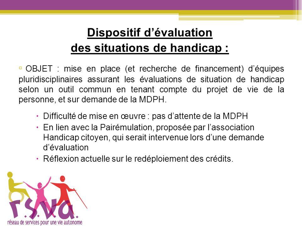 Dispositif dévaluation des situations de handicap : OBJET : mise en place (et recherche de financement) déquipes pluridisciplinaires assurant les éval