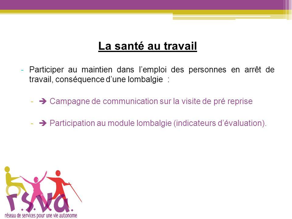 La santé au travail -Participer au maintien dans lemploi des personnes en arrêt de travail, conséquence dune lombalgie : - Campagne de communication s
