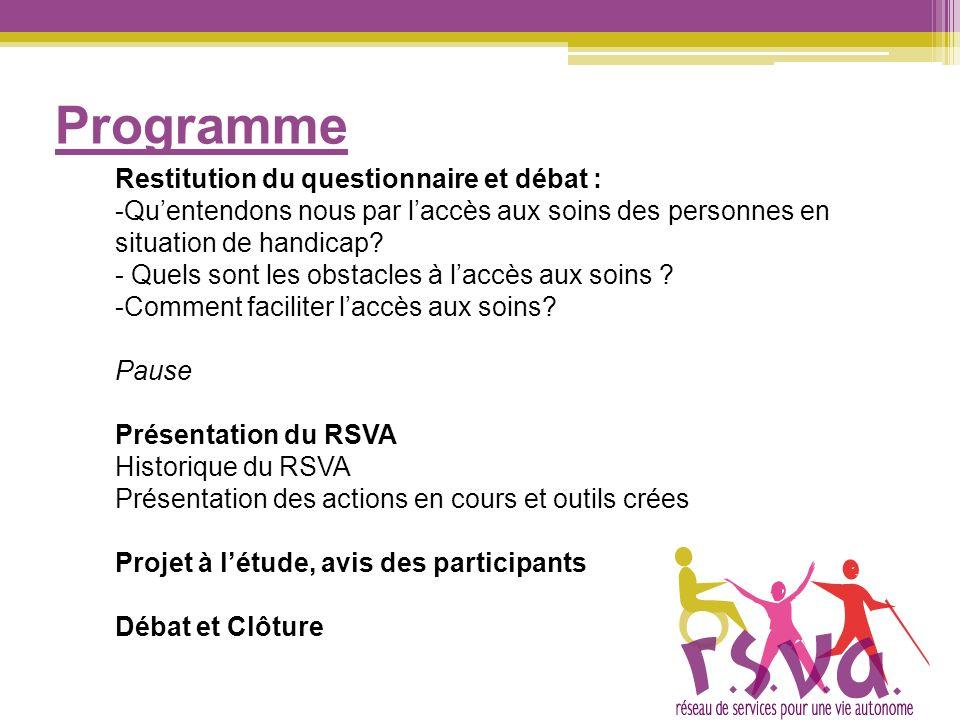 Programme Restitution du questionnaire et débat : -Quentendons nous par laccès aux soins des personnes en situation de handicap? - Quels sont les obst