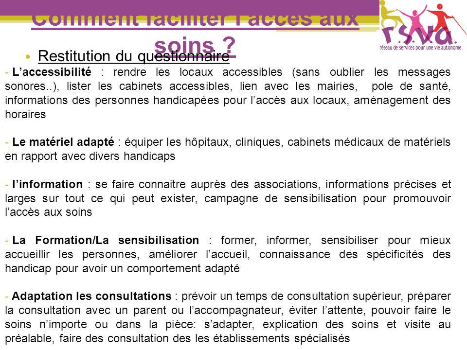 Comment faciliter laccès aux soins ? Restitution du questionnaire - Laccessibilité : rendre les locaux accessibles (sans oublier les messages sonores.
