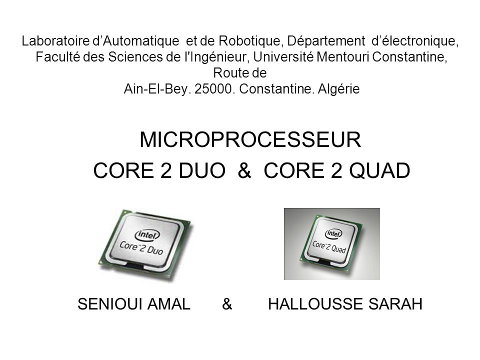 Laboratoire dAutomatique et de Robotique, Département délectronique, Faculté des Sciences de l Ingénieur, Université Mentouri Constantine, Route de Ain-El-Bey.
