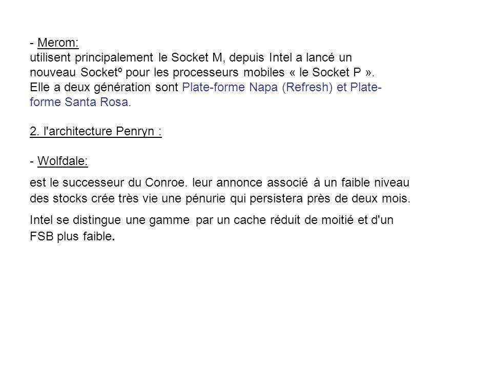 - Merom: utilisent principalement le Socket M, depuis Intel a lancé un nouveau Socketº pour les processeurs mobiles « le Socket P ».