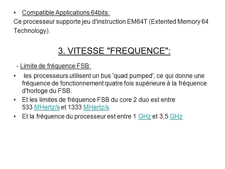 Compatible Applications 64bits: Ce processeur supporte jeu d instruction EM64T (Extented Memory 64 Technology).