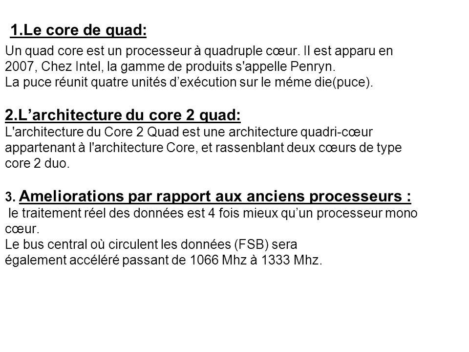 1.Le core de quad: Un quad core est un processeur à quadruple cœur.