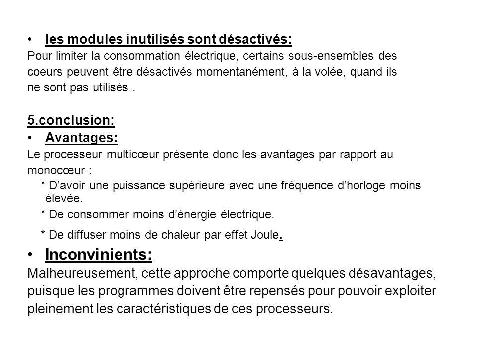 les modules inutilisés sont désactivés: Pour limiter la consommation électrique, certains sous-ensembles des coeurs peuvent être désactivés momentanément, à la volée, quand ils ne sont pas utilisés.