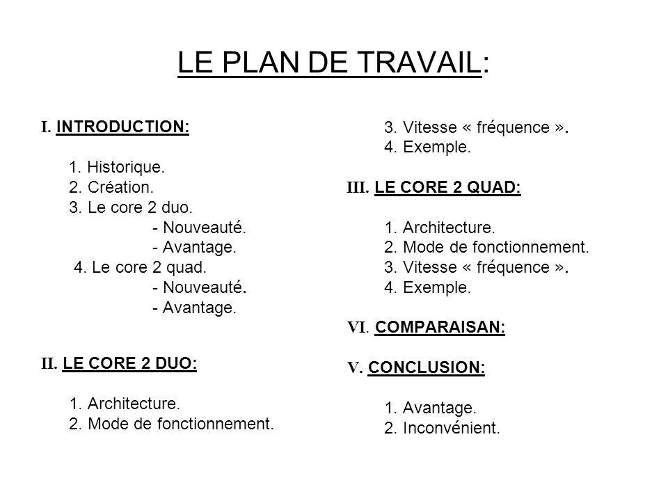 LE PLAN DE TRAVAIL: I.INTRODUCTION: 1. Historique.