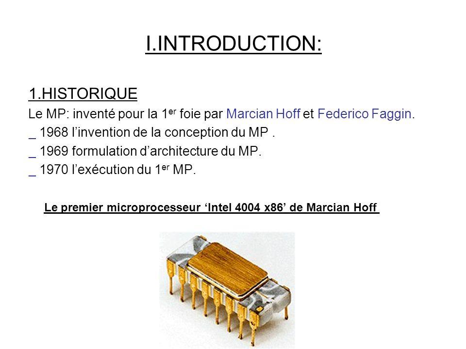1.HISTORIQUE Le MP: inventé pour la 1 er foie par Marcian Hoff et Federico Faggin.