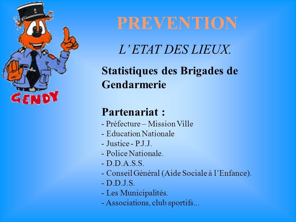 Rôle du CORRESPONDANT GENDARMERIE dans L ETAT DES LIEUX Création en 1998 d un Correspondant Gendarmerie - sécurité de l école par brigade.