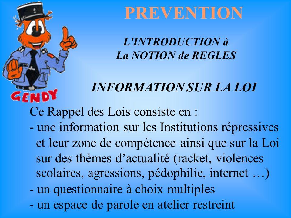 PREVENTION LINTRODUCTION à La NOTION de REGLES.