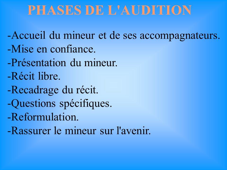 PHASES DE L AUDITION -Accueil du mineur et de ses accompagnateurs.