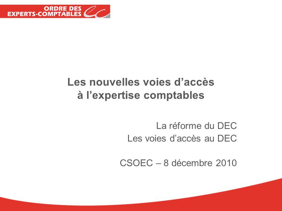 Les nouvelles voies daccès à lexpertise comptables La réforme du DEC Les voies daccès au DEC CSOEC – 8 décembre 2010