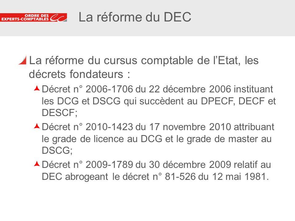 2 2 La réforme du DEC La réforme du cursus comptable de lEtat, les décrets fondateurs : Décret n° 2006-1706 du 22 décembre 2006 instituant les DCG et
