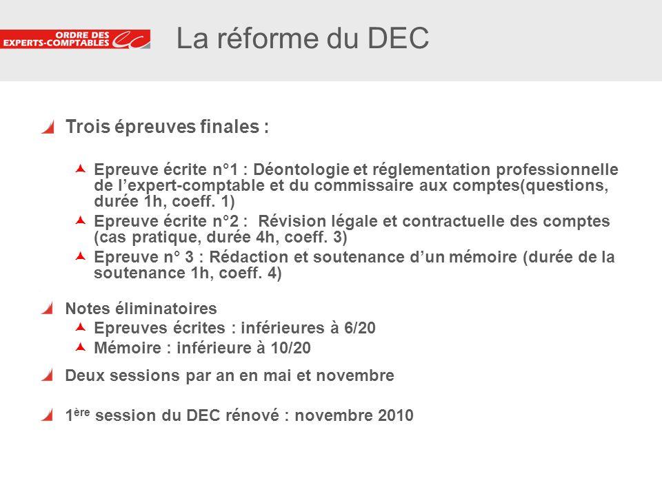 3 3 La réforme du DEC Trois épreuves finales : Epreuve écrite n°1 : Déontologie et réglementation professionnelle de lexpert-comptable et du commissai