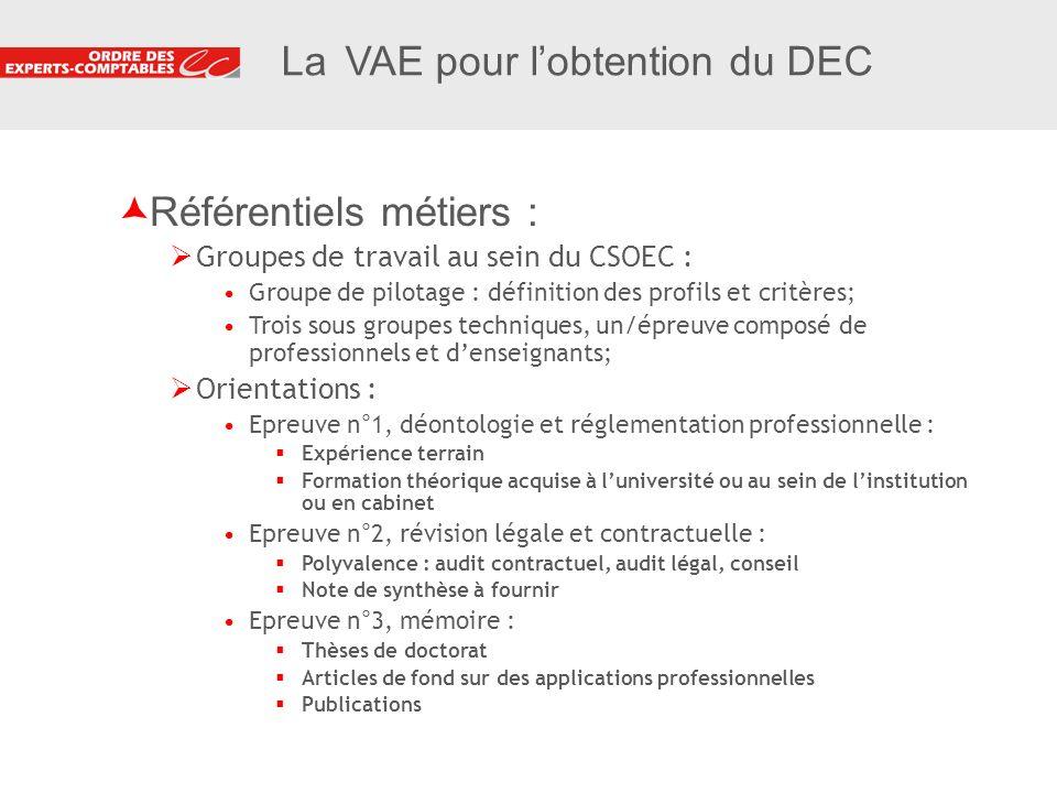 9 9 La VAE pour lobtention du DEC Référentiels métiers : Groupes de travail au sein du CSOEC : Groupe de pilotage : définition des profils et critères