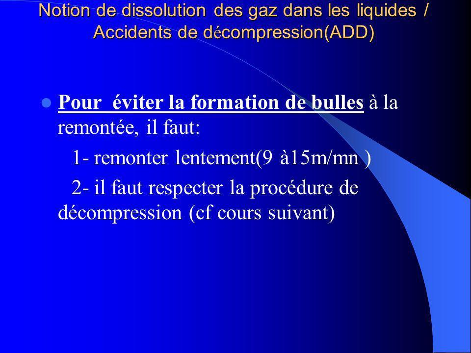 Notion de dissolution des gaz dans les liquides / Accidents de d é compression(ADD) Pour éviter la formation de bulles à la remontée, il faut: 1- remo