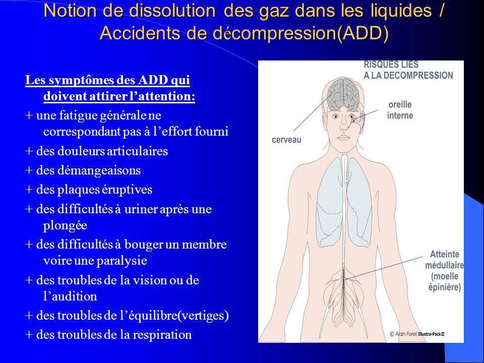 Notion de dissolution des gaz dans les liquides / Accidents de d é compression(ADD) Les symptômes des ADD qui doivent attirer lattention: + une fatigu