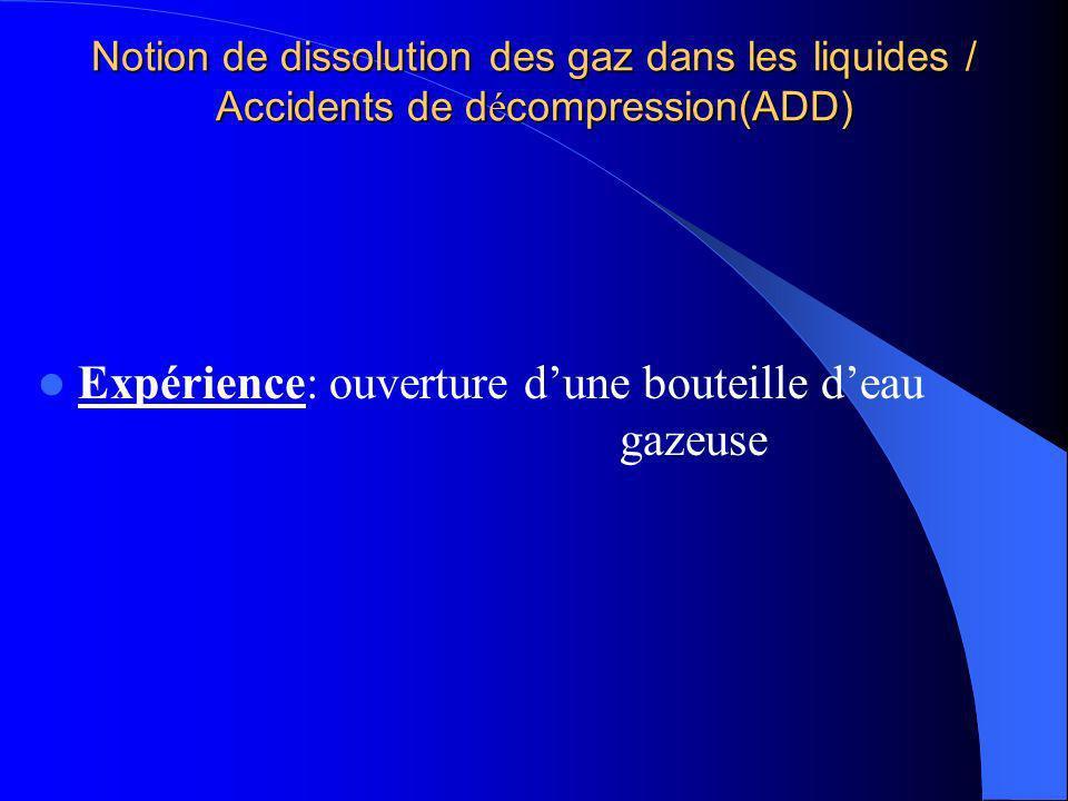 Notion de dissolution des gaz dans les liquides / Accidents de d é compression(ADD) Expérience: ouverture dune bouteille deau gazeuse