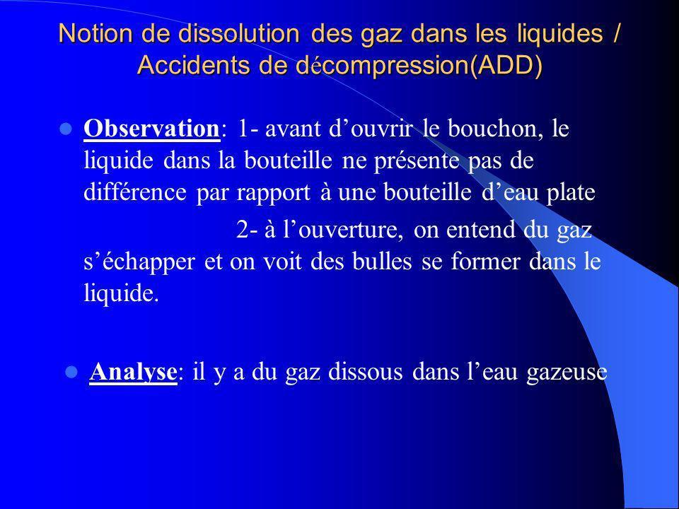 Notion de dissolution des gaz dans les liquides / Accidents de d é compression(ADD) Observation: 1- avant douvrir le bouchon, le liquide dans la boute