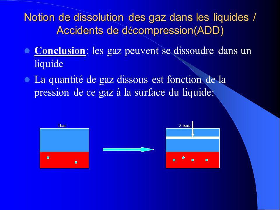 Notion de dissolution des gaz dans les liquides / Accidents de d é compression(ADD) Conclusion: les gaz peuvent se dissoudre dans un liquide La quanti