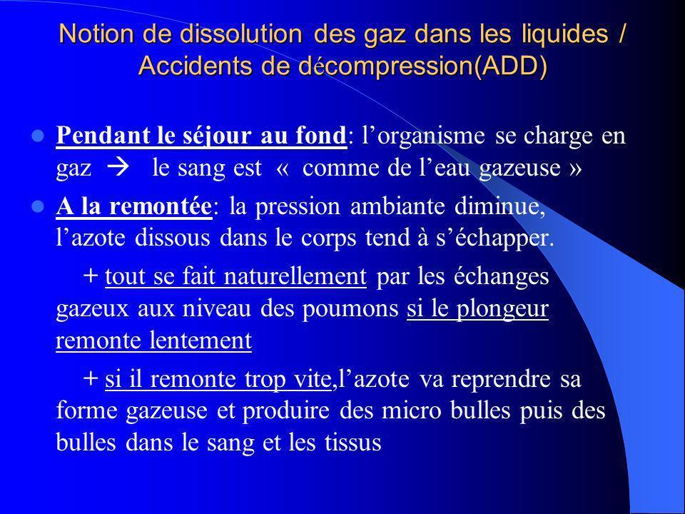 Notion de dissolution des gaz dans les liquides / Accidents de d é compression(ADD) Pendant le séjour au fond: lorganisme se charge en gaz le sang est
