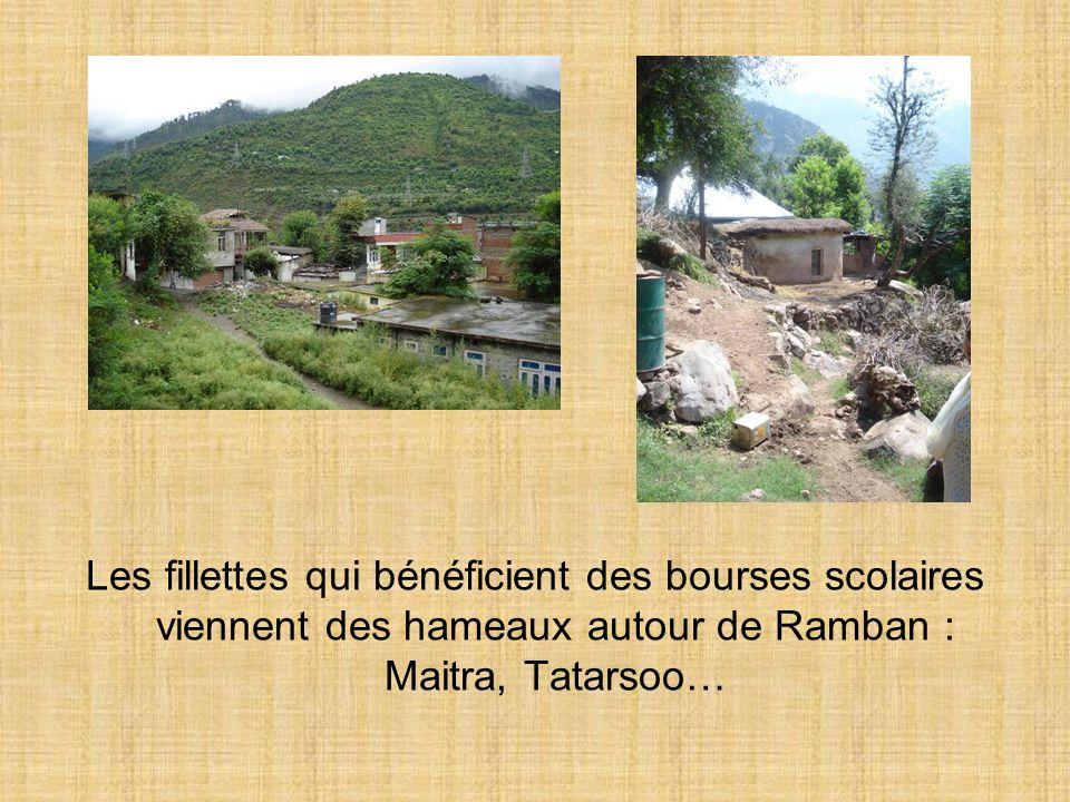 Les fillettes qui bénéficient des bourses scolaires viennent des hameaux autour de Ramban : Maitra, Tatarsoo…