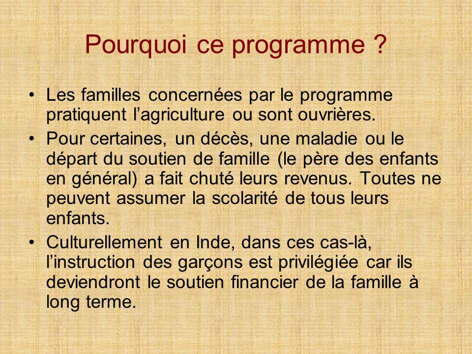 Pourquoi ce programme ? Les familles concernées par le programme pratiquent lagriculture ou sont ouvrières. Pour certaines, un décès, une maladie ou l