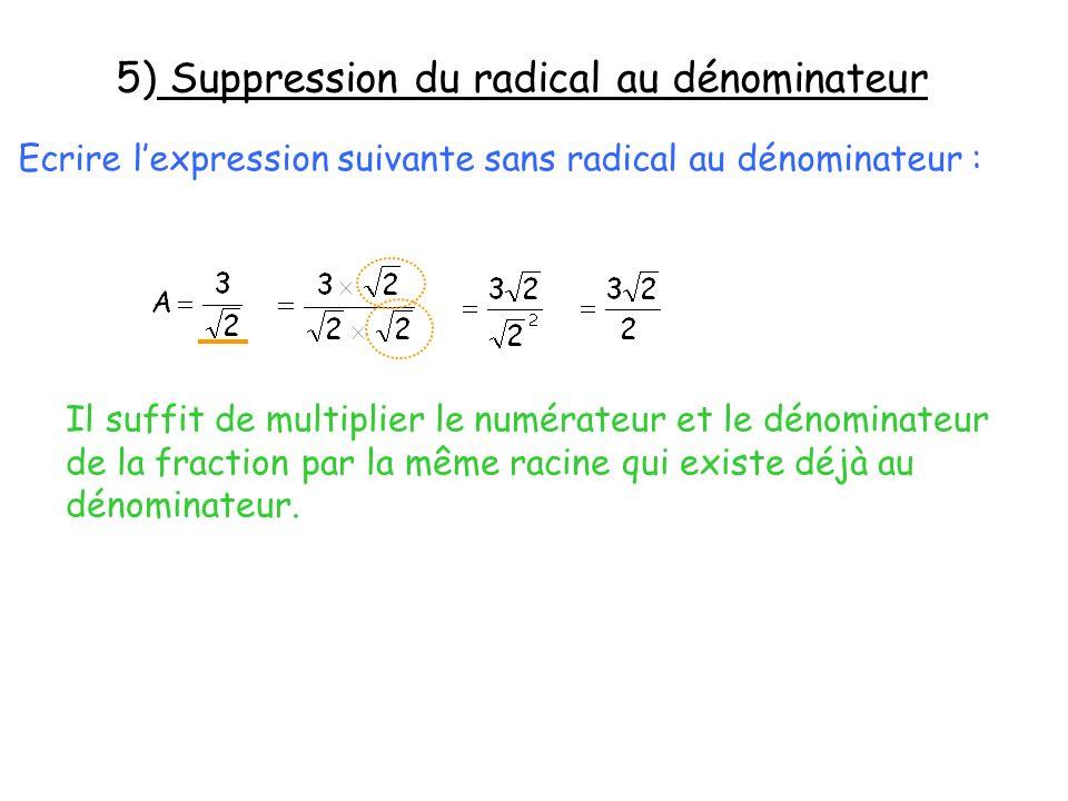 5) Suppression du radical au dénominateur Ecrire lexpression suivante sans radical au dénominateur : Il suffit de multiplier le numérateur et le dénom