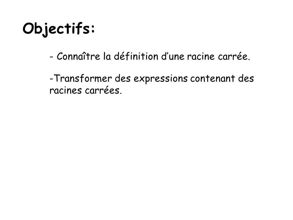 Objectifs: -Connaître la définition dune racine carrée. -Transformer des expressions contenant des racines carrées.