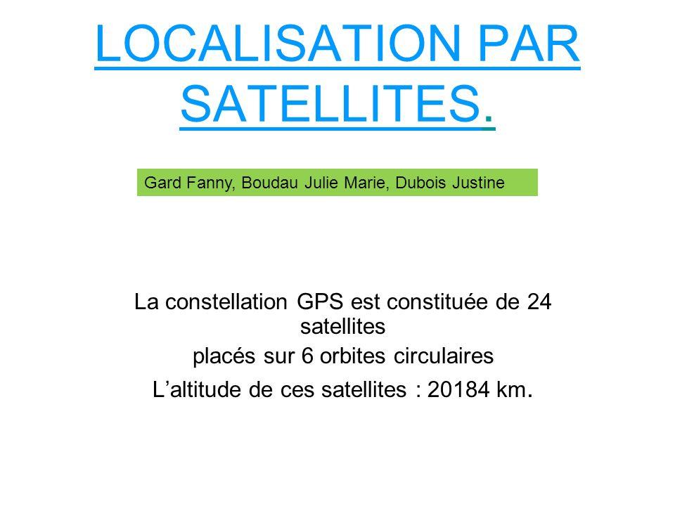 LOCALISATION PAR SATELLITES. La constellation GPS est constituée de 24 satellites placés sur 6 orbites circulaires Laltitude de ces satellites : 20184