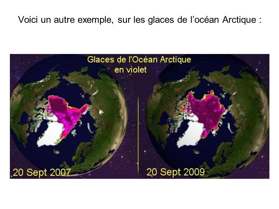 Voici un autre exemple, sur les glaces de locéan Arctique :