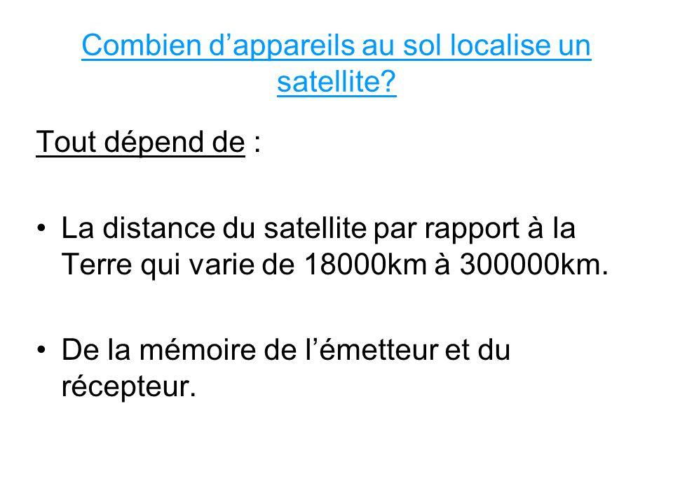 Combien dappareils au sol localise un satellite? Tout dépend de : La distance du satellite par rapport à la Terre qui varie de 18000km à 300000km. De