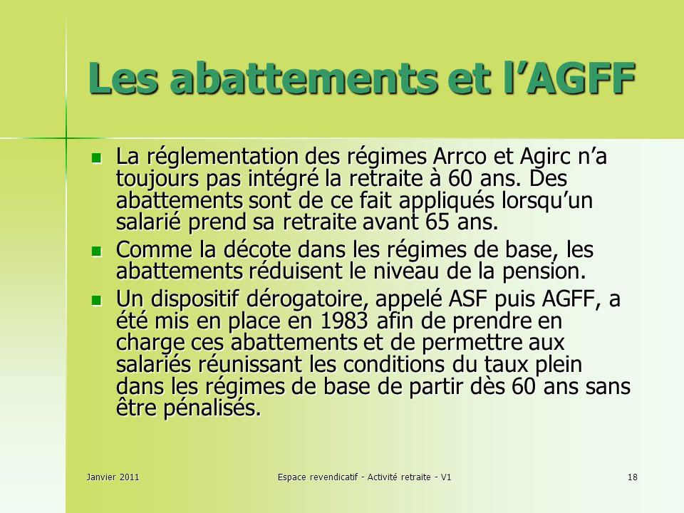 Janvier 2011Espace revendicatif - Activité retraite - V118 Les abattements et lAGFF La réglementation des régimes Arrco et Agirc na toujours pas intégré la retraite à 60 ans.