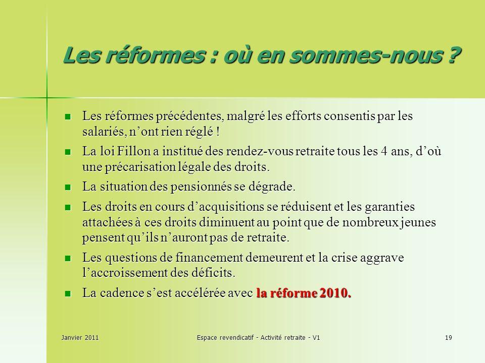 Janvier 2011Espace revendicatif - Activité retraite - V119 Les réformes : où en sommes-nous .