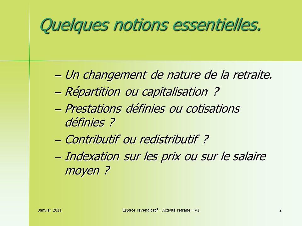 Janvier 2011Espace revendicatif - Activité retraite - V12 Quelques notions essentielles.