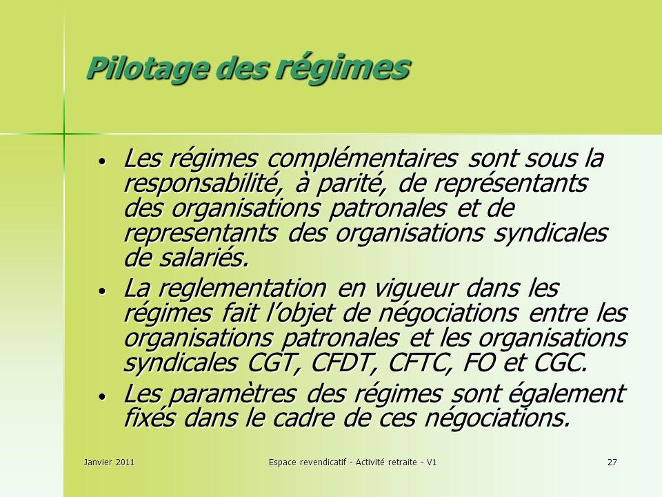 Janvier 2011Espace revendicatif - Activité retraite - V127 Pilotage des régimes Pilotage des régimes Les régimes complémentaires sont sous la responsabilité, à parité, de représentants des organisations patronales et de representants des organisations syndicales de salariés.
