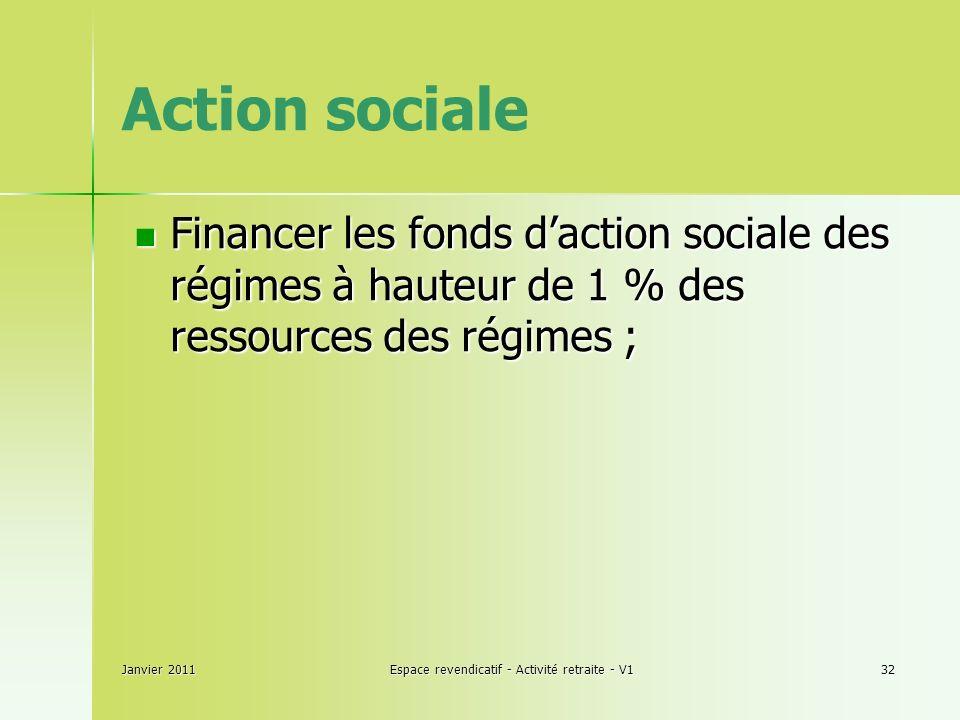 Janvier 2011Espace revendicatif - Activité retraite - V132 Action sociale Financer les fonds daction sociale des régimes à hauteur de 1 % des ressources des régimes ; Financer les fonds daction sociale des régimes à hauteur de 1 % des ressources des régimes ;
