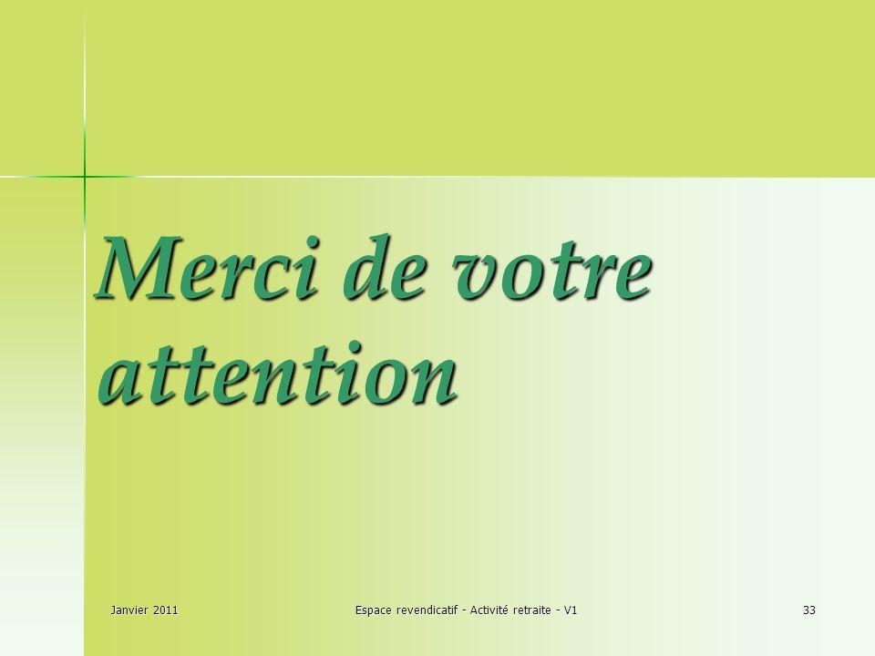 Janvier 2011Espace revendicatif - Activité retraite - V133 Merci de votre attention