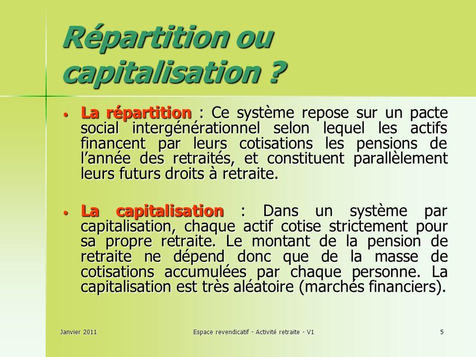 Janvier 2011Espace revendicatif - Activité retraite - V15 Répartition ou capitalisation .
