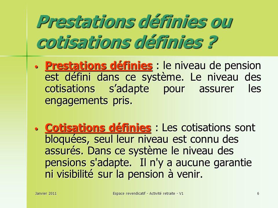 Janvier 2011Espace revendicatif - Activité retraite - V16 Prestations définies ou cotisations définies .
