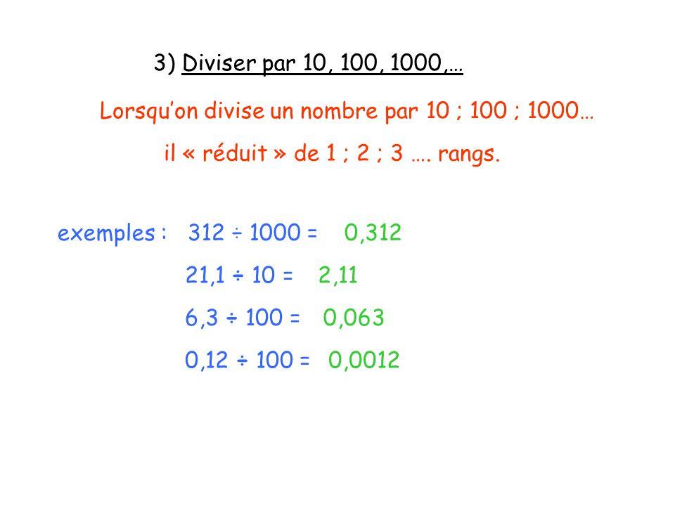 3) Diviser par 10, 100, 1000,… Lorsquon divise un nombre par 10 ; 100 ; 1000… il « réduit » de 1 ; 2 ; 3 …. rangs. exemples : 312 ÷ 1000 =0,312 21,1 ÷