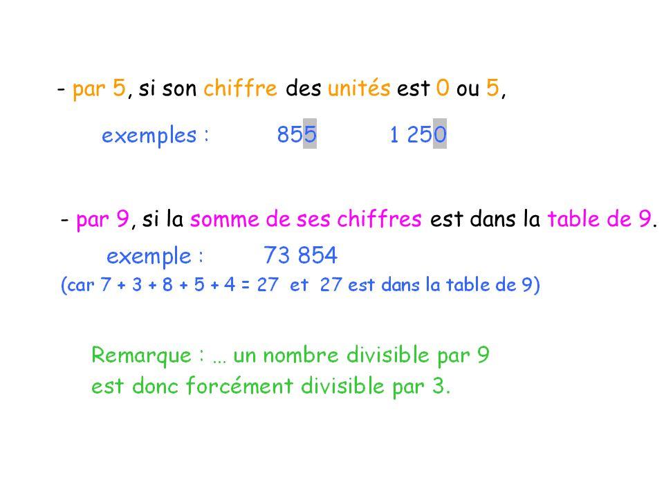 - par 5, si son chiffre des unités est 0 ou 5, - par 9, si la somme de ses chiffres est dans la table de 9.