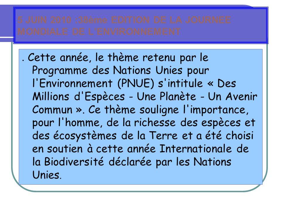 5 JUIN 2010 :38ème EDITION DE LA JOURNEE MONDIALE DE LENVIRONNEMENT.