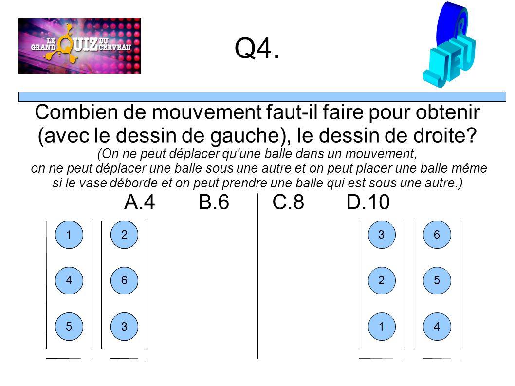 Q4. Combien de mouvement faut-il faire pour obtenir (avec le dessin de gauche), le dessin de droite? (On ne peut déplacer qu'une balle dans un mouveme