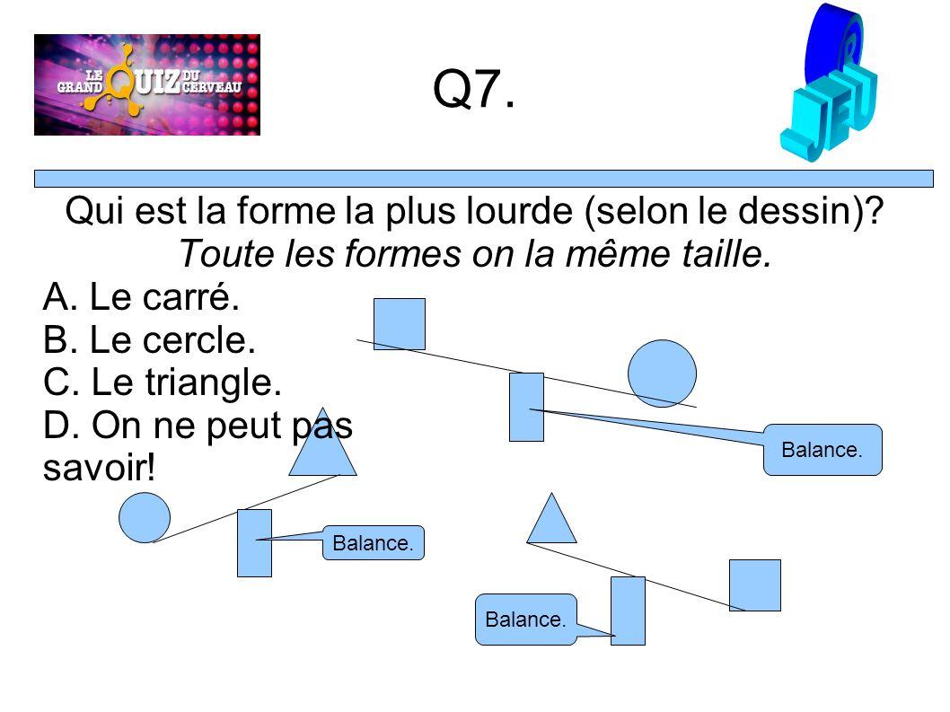 Q7. Qui est la forme la plus lourde (selon le dessin).