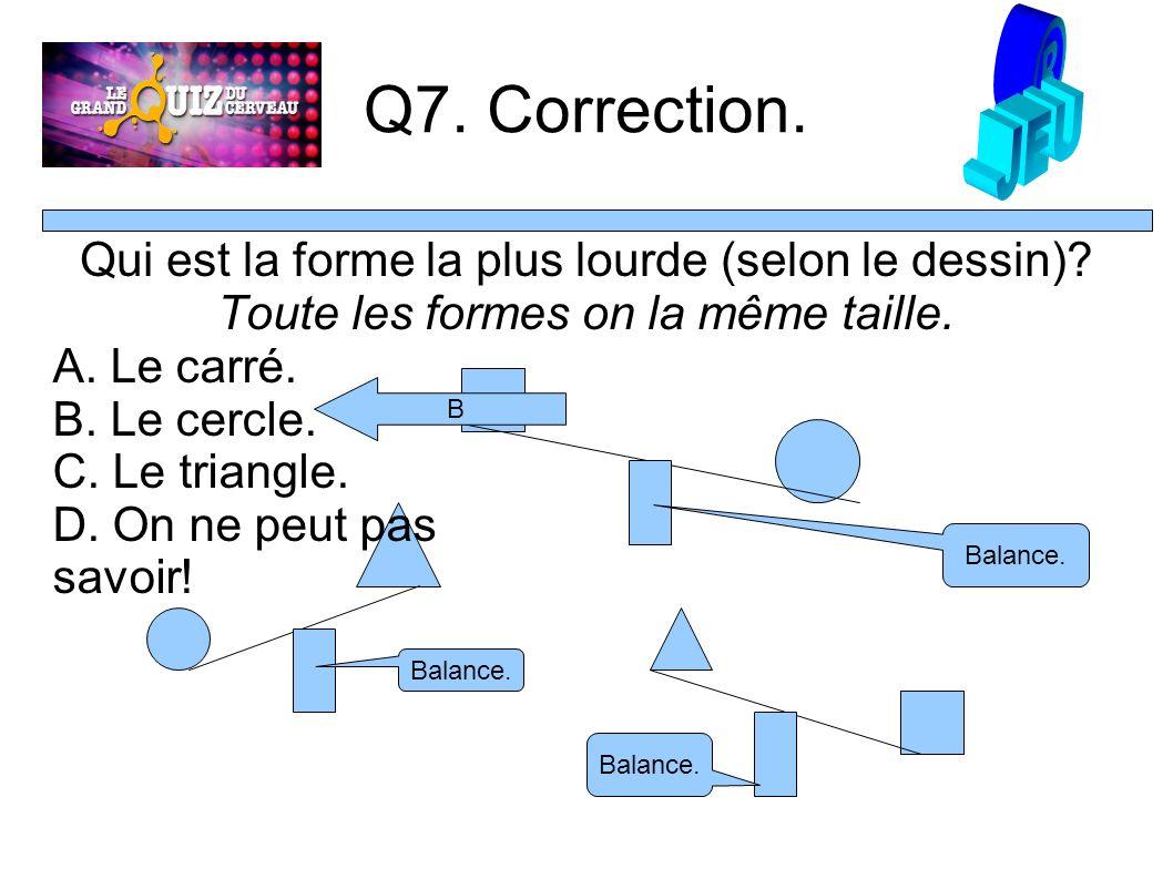 Q7. Correction. Qui est la forme la plus lourde (selon le dessin).
