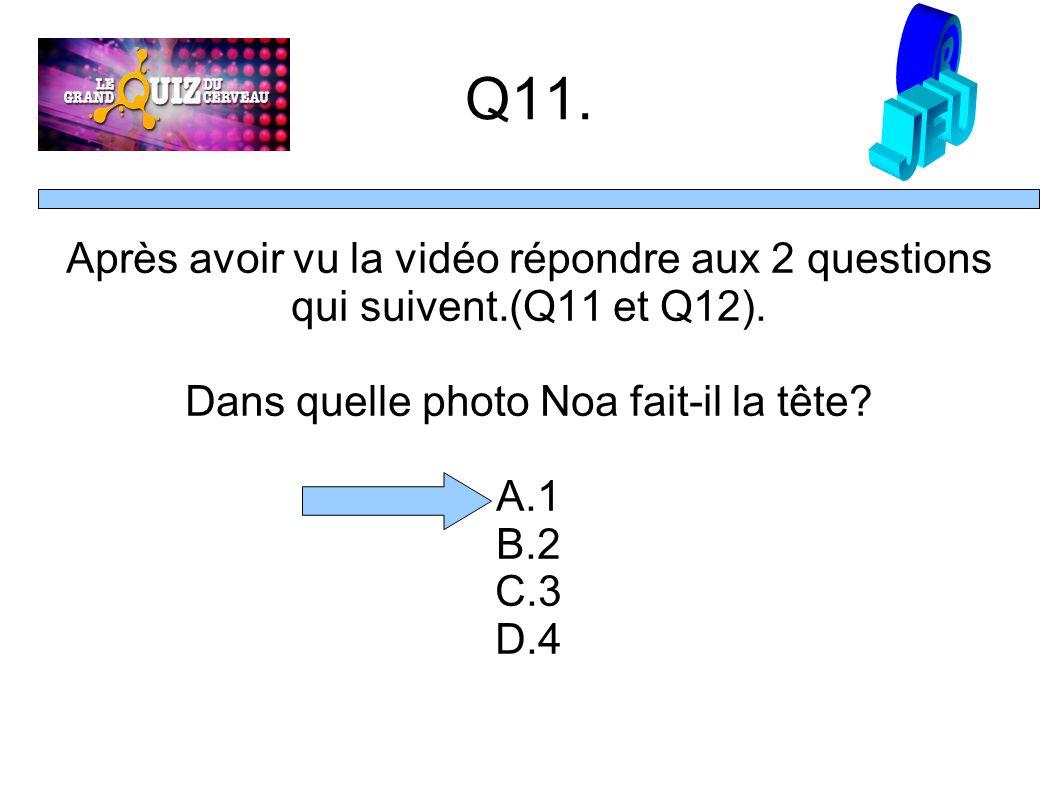 Q11. Après avoir vu la vidéo répondre aux 2 questions qui suivent.(Q11 et Q12).