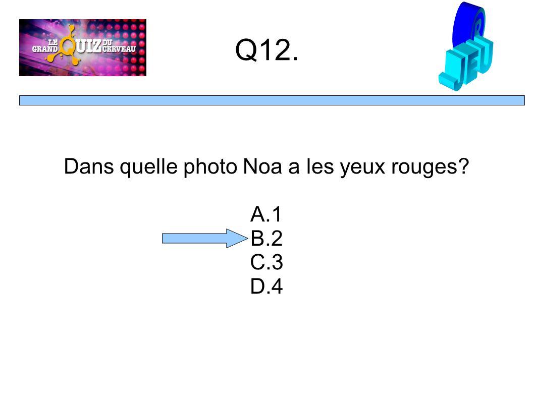 Q12. Dans quelle photo Noa a les yeux rouges A.1 B.2 C.3 D.4