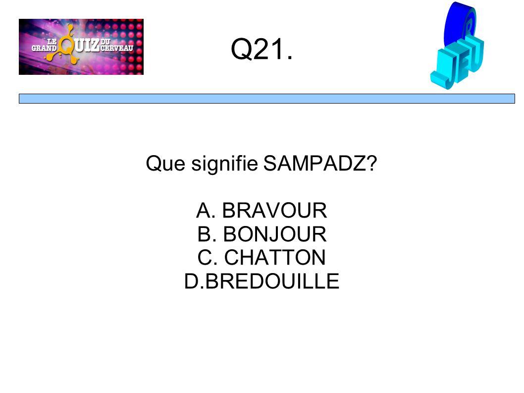 Q21. Que signifie SAMPADZ A. BRAVOUR B. BONJOUR C. CHATTON D.BREDOUILLE